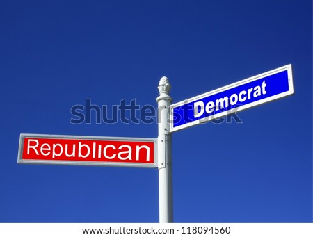 street sign against a clear blue sky depicting Republican vs Democrat Party - stock photo