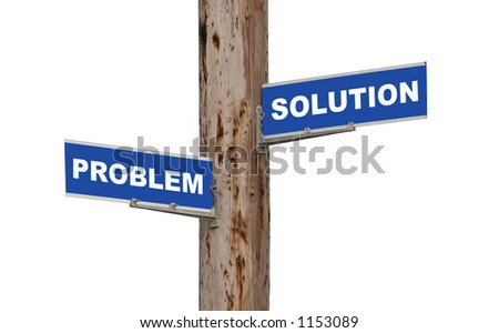 Street sign concepts problem or solution isolated - stock photo