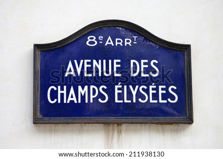 Street sign for Avenue des Champs-Elysees in Paris, France. - stock photo