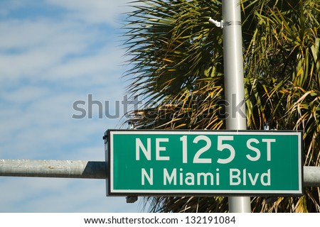 Street sign for the NE 125 ST in North Miami Beach, Florida, USA - stock photo