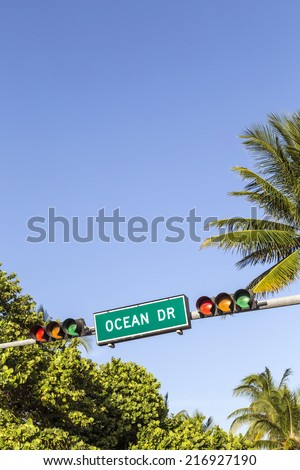 Street sign of famous street Ocean Drive in Miami South Beach - stock photo