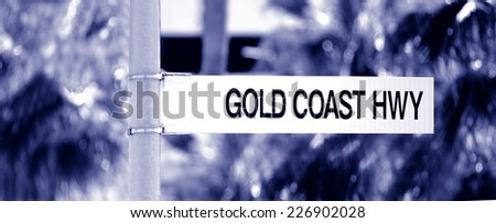 Street sign of Gold Coast Highway in Queensland Australia. - stock photo