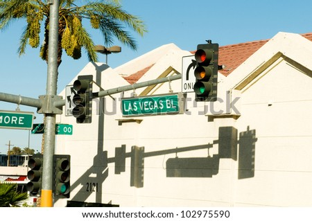 Street sign of Las vegas Boulevard - stock photo