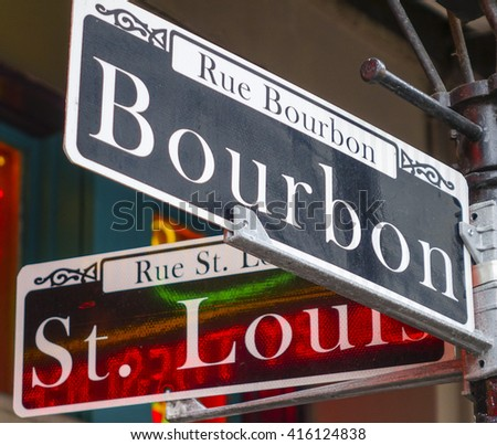 Street sign of New Orleans most famous street Bourbon street at French Quarter