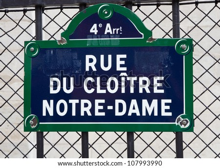 Street sign of Notre-Dame - stock photo