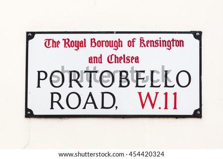 street sign of Portobello Road in London, UK - stock photo
