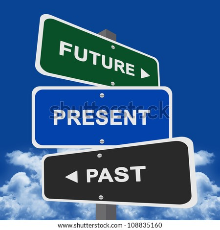 Street Sign Pointing to Future, Present and Past - stock photo