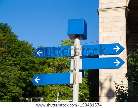 street sign showing cities, roads - stock photo