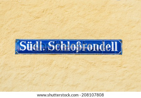 Street sign Suedliches Schlossrondel - southern Castle area - at Nymphenburg Castle, Munich