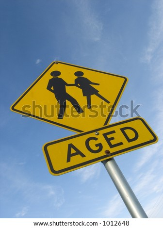 Street sign warning of elderly people in area - stock photo