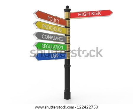 Street sign with compliance topics - stock photo