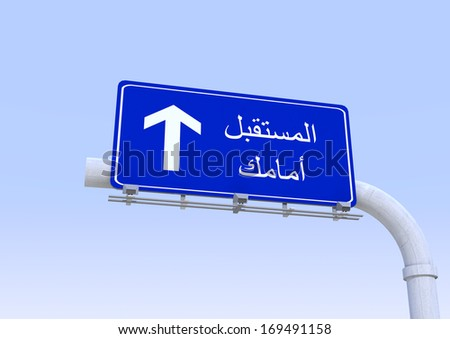 street sign with future ahead word translated in arabic - stock photo