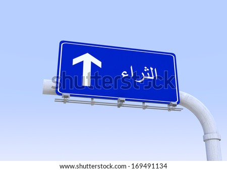 street sign with wealth word translated in arabic - stock photo