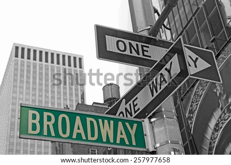 Street signs for Broadway in Manhattan (New York City). Color Splash Effect Picture. - stock photo