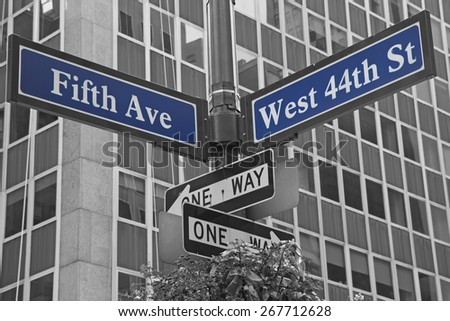 Street signs for Fifth Avenue and West 44nd street in Manhattan (New York City). Color Splash Effect Picture. - stock photo