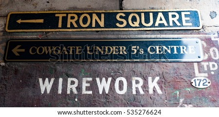 "Street signs ""Tron Square"" in Edinburgh, Scotland"