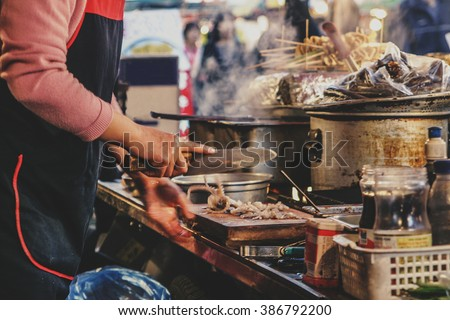 Street stall in Korea - stock photo