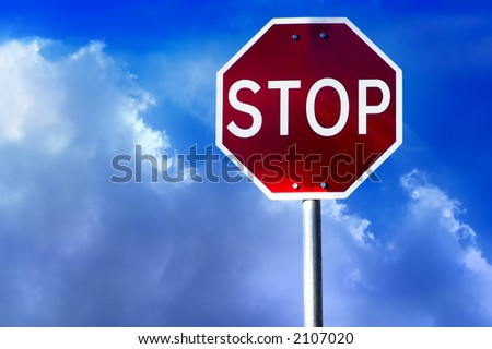 street stop sign with clouds and sky as background