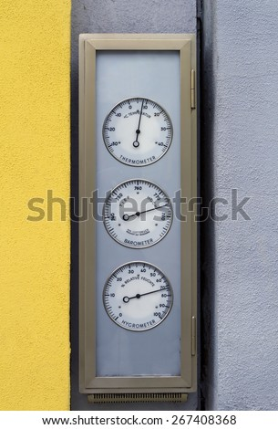 Street thermometer and barometer Germany. Street device to make weather forecast for burghers