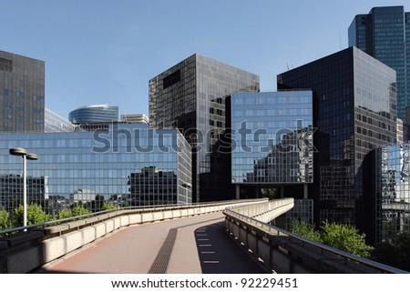 Street Through Business District - stock photo