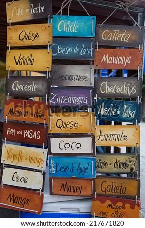 street vendor ice cream flavor choices in Mexico - stock photo