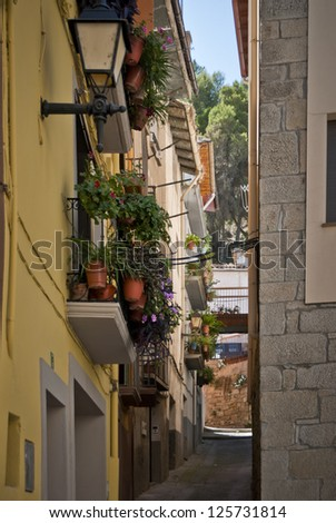 Street -view, alley in Graus, Spain - stock photo