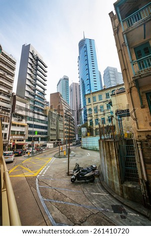 Street view and skyline in Central Hong Kong