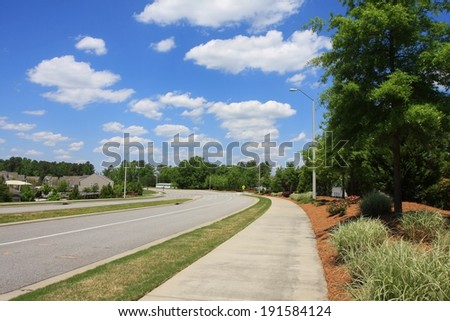 Street view beside community, Morrisville, North Carolina, Research Triangle Park,