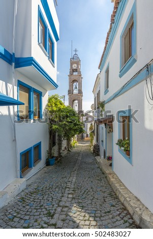 Street view from Greek District in Bozcaada Island