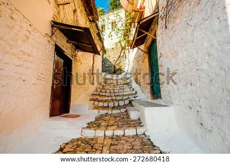 Street view in Berat city, Albania. World Heritage Site by UNESCO - stock photo
