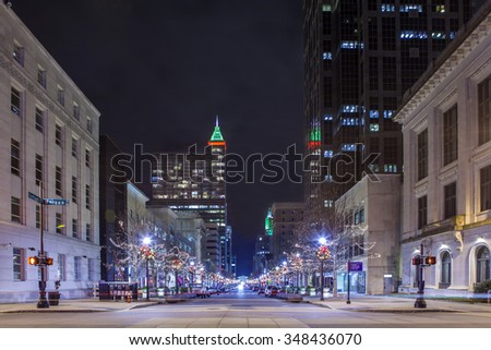 street view of downtown Raleigh, North Carolina at night - stock photo
