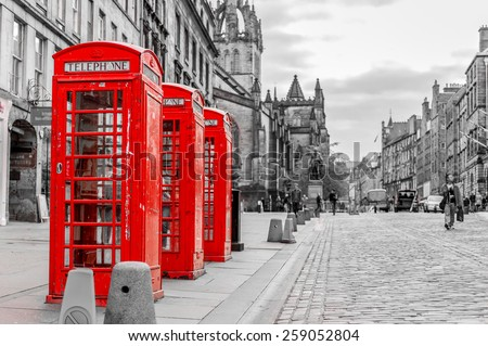 street view of Edinburgh, Scotland, UK - stock photo