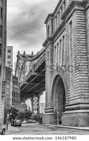 Street view of Manhattan Bridge in Brooklyn. - stock photo