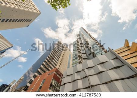 Street view of Melbourne skyscrapers, Victoria, Australia. - stock photo