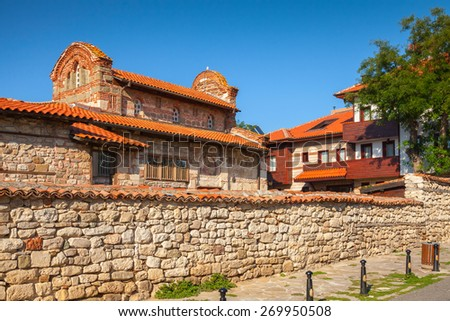 Street view of Nesebar, Bulgaria. Typical revival houses in the old town - stock photo