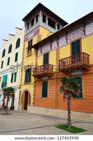 Street view of old Alghero, Sardinia. - stock photo