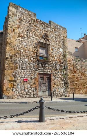 Street view of Via del Imperi Roma, the Way of Empires Rome in Tarragona, Spain - stock photo