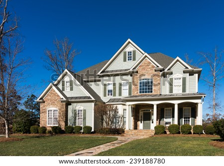 Street view on a nice house - stock photo