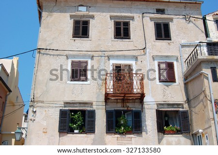 street view with old buildings in Croatia