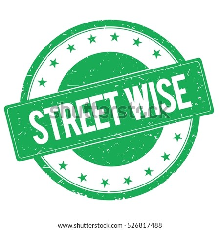 STREET WISE stamp sign text word logo green.