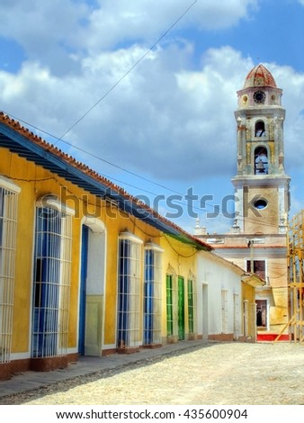 Street with at the end a church at the city of Trinidad, Cuba