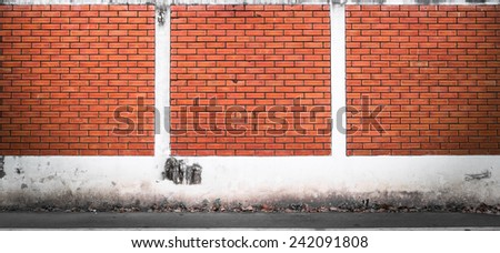 Street with brick wall background - stock photo