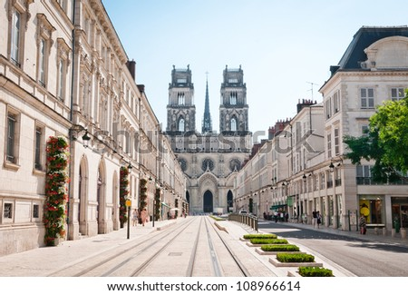 Street with Cathedral in Orleans, France - stock photo