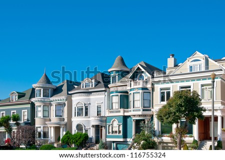 Street with classic victorian houses in San Francisco, California, USA - stock photo