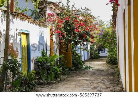 Street with colonial houses and tropical plants in the evening mood, historic town Paraty, Brazil