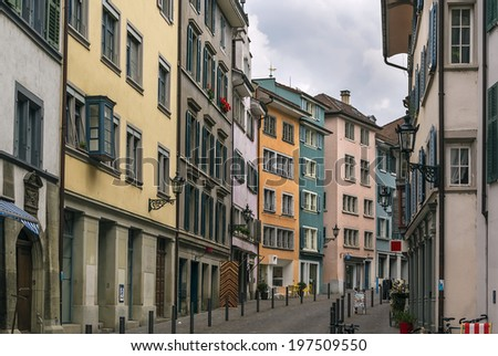 Street with historic houses in Zurich city center, Switzerland - stock photo