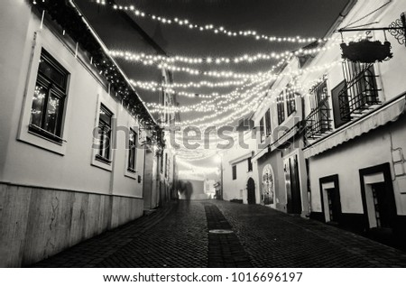 Street with historic houses, Szentendre, Hungary. Christmas time. Night scene. Travel destination. Black and white photo.