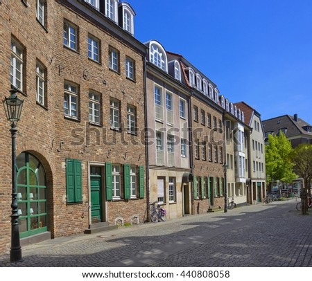 Street with historical buildings in the center of Dusseldorf, Germany - stock photo