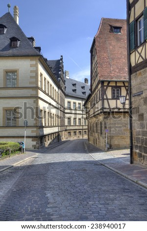 Street with historical buildings in the old center of Bamberg, Germany