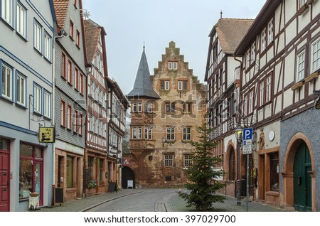street with historical half-timbered house in Budingen, Hesse, Germany